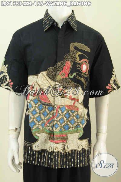 Jual Hem Batik Wayang, Baju Batik Trendy Motif Bagong Model Lengan Pendek Harga 155K Proses Tulis, Pria Gemuk Tampil Makin Berwibawa [LD8153T-XXL]