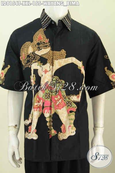 Baju Batik Wayang 3L, Hem Batik Lengan Pendek Halus Istimewa Motif Bima Tampil Terlihat Macho Dan Menawan [LD8154T-XXL]