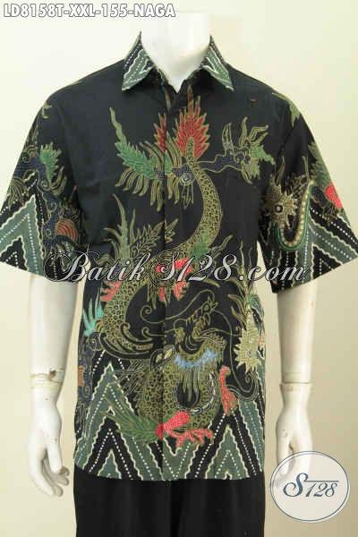 Online Shop Pakaian Batik Terlengkap, Sedia Kemeja Batik Solo Lengan Pendek Motif Naga Ukuran 3L Untuk Pria Gemuk [LD8158T-XXL]