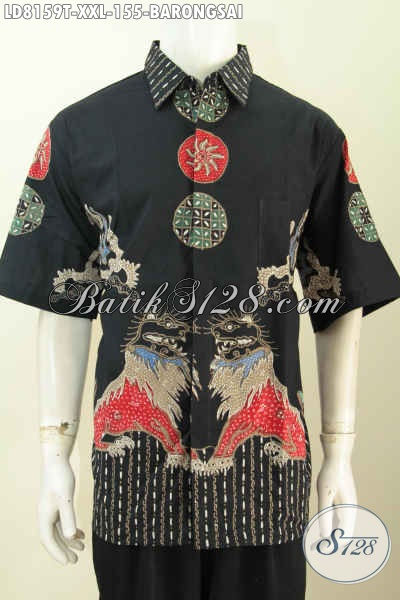 Baju Hem Keren Bahan Batik Tulis Solo Murmer Motif Barongsai, Baju Batik Jumbo Pria Gemuk Harga 100 Ribuan [LD8159T-XXL]