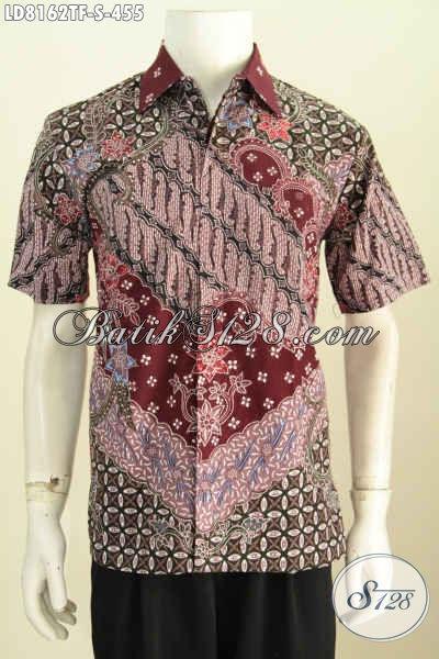 Baju Hem Batik Elegan Lengan Pendek Halus Motif Mewah Bahan Adem Proses Tulis Full Furing Untuk Penampilan Lebih Ganteng [LD8162TF-S]