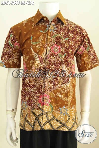 Baju Hem Batik Motif Mewah, Pakaian Batik Solo Lengan Pendek Keren Proses Tulis Full Furing Harga 455K Asli Dari Solo [LD8164TF-M]