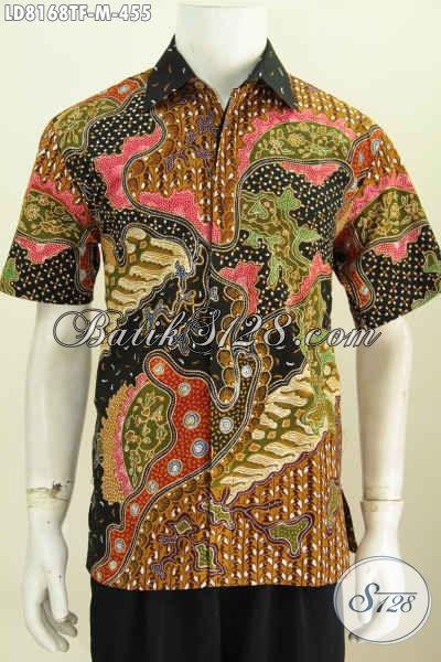Agen Baju Batik Solo Online, Sedia Kemeja Lengan Pendek Mewah Full Furing Bahan Adem Motif Berkelas Hanya 455K [LD8168TF-M]
