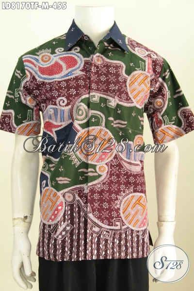 Baju Hem Batik Tulis Motif Unik Dengan Paduan Warna Keren Proses Tulis, Kemeja Batik Full Furing Model Lengan Pendek Tampil Makin Bergaya [LD8170TF-M]