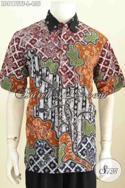 Hem Batik Untuk Kerja, Baju Batik Elegan Buat Acara Formal Motif Mewah Full Furing Lengan Pendek Proses Tulis [LD8175TF-L]