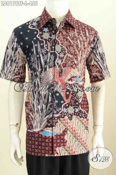 Koleksi Terkini Pakaian Batik Cowok, Hadir Dengan Motif Berkelas Proses Tulis Model Lengan Pendek Pake Furing Untuk Penampilan Lebih Sempurna [LD8176TF-L]
