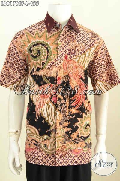 Baju Batik Lengan Pendek Untuk Seragam Kerja, Pakaian Batik Halus Full Furing Bahan Adem Motif Tulis Asli Di Jual Online 455K [LD8178TF-L]