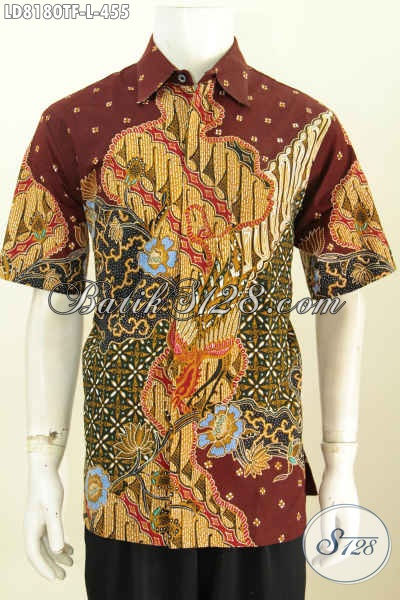 Jual Baju Batik Online Berkwalitas Tinggi, Hem Batik Tulis Full Furing Lengan Pendek Buatan Solo Untuk Tampil Gagah Dan Bergaya [LD8180TF-L]