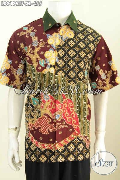 Jual Kemeja Batik Solo Elegan Lengan Pendek Halus Proses Tulis Bahan Adem Daleman Pake Furing, Bisa Untuk Santai Dan Resmi [LD8182TF-XL]