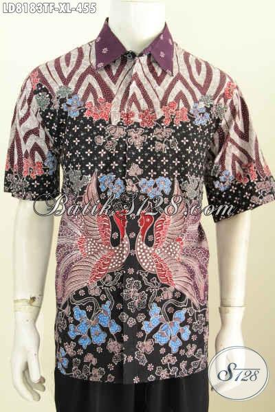 Batik pria modern motif Nukila Kembar (burung kembar) dengan ornamen penghubung motif mega mendung khas batik cirebon dan truntum khas Solo