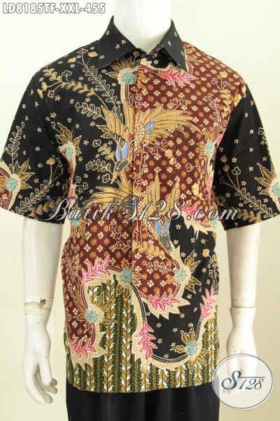 Online Shop Batik Paling Up To Date, Jual Kemeja Lengan Pendek Premium Proses Tulis Motif Mewah Full Furing Lengan Pendek Spesial Untuk Pria Gemuk [LD8185TF-XXL]