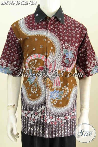 Jual Baju Batik Kerja Pria Gemuk, Hem Batik ELegan Berkelas Motif Mewah Lengan Pendek Full Furing Asli Buatan Solo [LD8187TF-XXL]