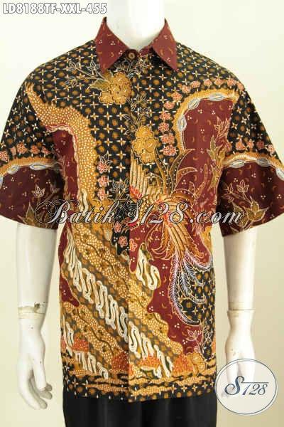 Hem Batik Yang Bikin Pria Gemuk Terlihat Gagah Dan Tampan, Baju Batik Full Furing Mewah Lengan Pendek Motif Tulis Asli Hanya 455K [LD8188TF-XXL]