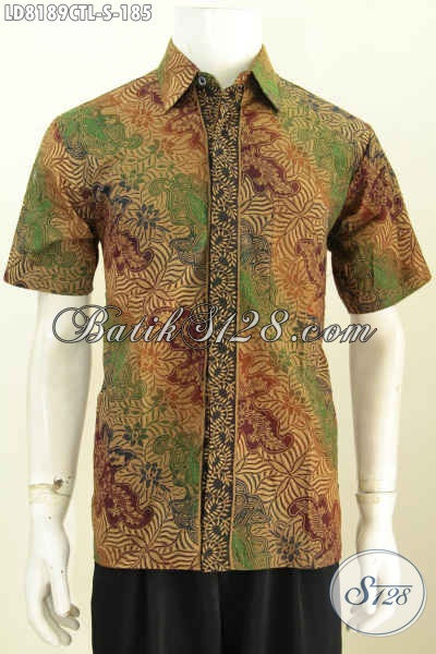 Hem Batik Trendy Masa Kini, Busana Batik Elegan Yang Modis Untuk Ke Kantor Dan Hangout Bahan Halus Proses Cap Tulis Lasem Model Lengan Pendek [LD8189CTL-S]