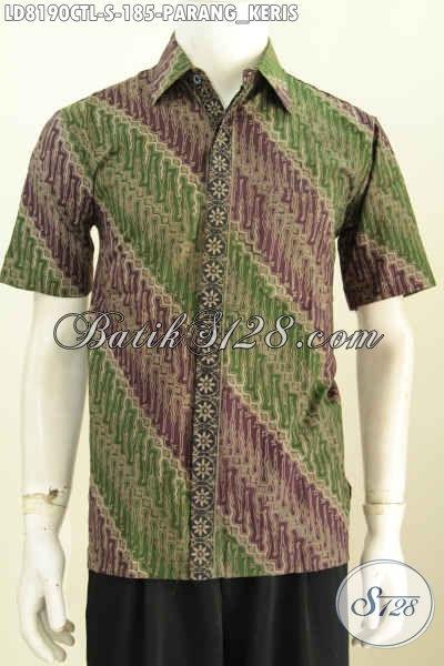 Batik Hem Elegan Motif Klasik Parang Keris, Busana Batik Kerja Proses Cap Tulis Lasem Lengan Pendek Dari Solo [LD8190CTL-S]