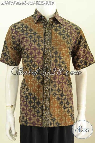 Baju Batik Klasik Desain Trendy Motif Kawung, Pakaian Batik Lengan Pendek Halus Cap Tulis Lasem Di Jual Online 185K [LD8195CTL-M]
