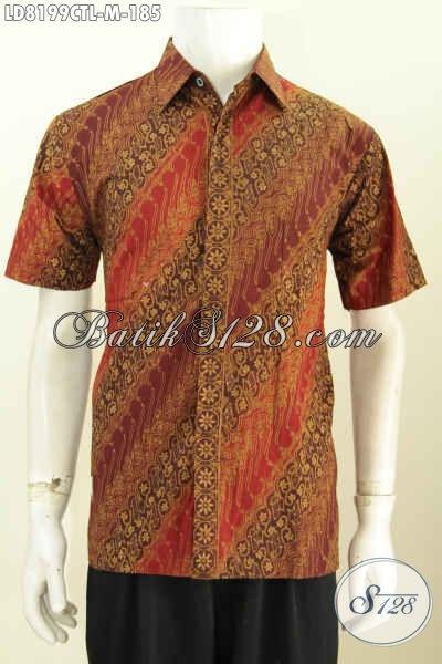 Baju Batik Size M Dengan Desain Modern Berpadu Bahan Halus Motif ELegan Berkelas Untuk Tampil Gagah Dan Bergaya Proses Cap Tulis Lasem [LD8199CTL-M]
