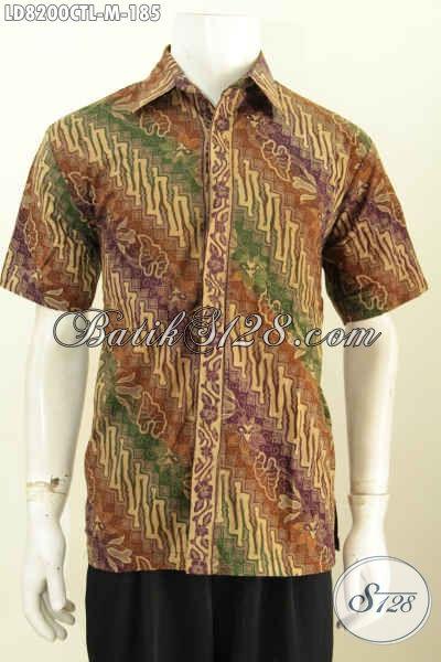 Kemeja Batik Solo erkini, Baju Batik Modis Dengan Paduan Motif Klasik Untuk Tampil Elegan, Pakaian Batik Cap Tulis Lasem Dari Solo Kwalitas Bagus Hanya 100 Ribuan [LD8200CTL-M]
