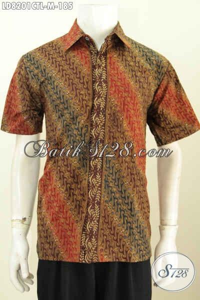 Jual Online Hem Batik Klasik Halus Proses Cap Tuis lasem, Pakaian Batik Modern Cocok Juga Untuk Kondangan Model Lengan Pendek [LD8201CTL-M]