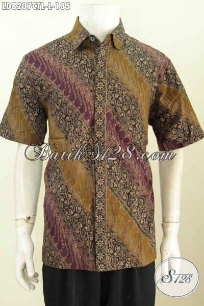 Hem Batik Modern Mewah Halus Lengan Pendek Proses Cap Tulis Lasem, Pakaian Batik Kerja Pria Kantoran Tampil Makin Tampan [LD8207CTL-L]