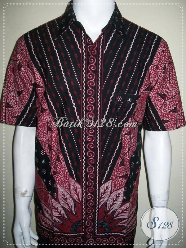 Baju Batik Tulis Asli Solo Lengan Pendek Warna Merah Motif Sinaran Keren [LD820T-L]