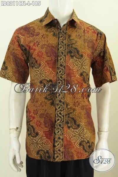 Pakaian Batik Solo Untuk Pria Size L, Hem Batik Halus Nan Istimewa Bahan Adem Proses Cap Tulis Lasem Untuk Kerja Dan Santai [LD8211CTL-L]