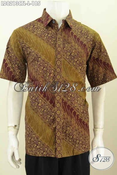Baju Kemeja Batik Solo Elegan Dan Mewah, Pakaian Batik Jawa Tengah Halus Cap Tulis Lasem Desain Modern Pas Banget Buat Ke Kantor [LD8213CTL-L]