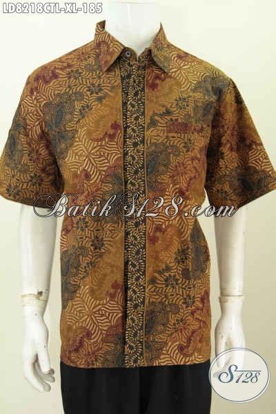 Baju Batik Hem Halus Motif Klasi Nan Elegan, Baju Batik Lengan Pendek Proses Cap Tulis Lsem Asli Buatan Solo Cocok Untuk Acara Resmi [LD8218CTL-XL]