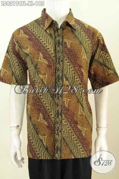 Baju Kemeja Batik Jawa Tengah Halus Lengan Pendek Seragam