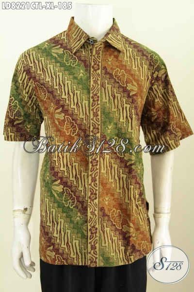 Hem Batik Modern Motif Klasik, Baju Batik Berkelas Lengan Pendek Tanpa Furing Proses Cap Tulis Lasem Untuk Penampilan Lebih Gagah [LD8221CTL-XL]