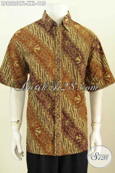 Baju Kemeja Batik 3L Lengan Pendek, Hem Batik Solo Terkini Proses Cap Tulis Lasem Untuk Lelaki Gemuk Tampil Lebih Berwibawa [LD8225CTL-XXL]