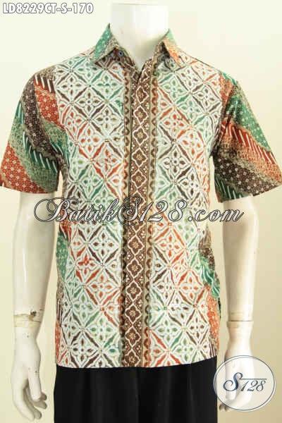 Baju Batik Trend Masa Kini, Hadir Dengan Motif Kombinasi Model Lengan Pendek Proses Cap Tulis Bikin Cowok Tampil Gaya [LD8229CT-S]