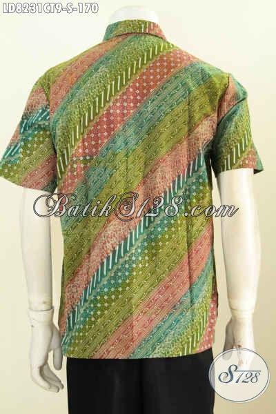 Pakaian Batik Keren Untuk Gaul, Baju Batik Halus Lengan Pendek Cap Tulis Motif Kombinasi Cocok Juga Buat Ke Kantor [LD8231CT-S]