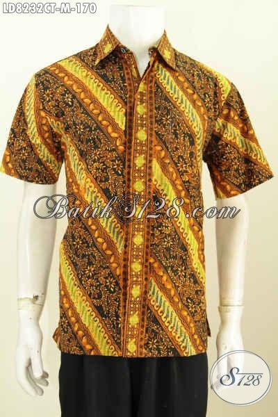 Jual Hem Lengan Pendek Batik Cap Tulis, Busana Batik Kerja Pria Muda Size M Bahan Adem Motif Klasik Harga 100 Ribuan