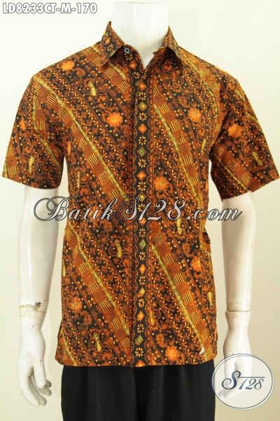 Baju Kemeja Elegan Lengan Pendek, Pakaian Batik Solo Trend Motif Terkini Proses Cap Tulis Untuk Cowok Terlihat Istimewa [LD8233CT-M]