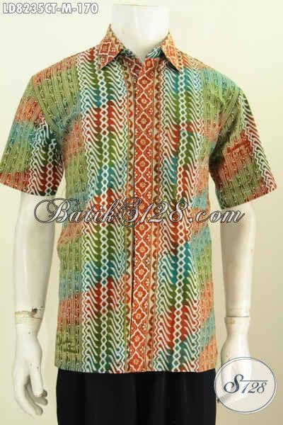Hem Batik Motif Unik Proses Cap Tulis, Baju Batik Keren Kwalitas Halus Spesial Buat Lelaki Muda [LD8235CT-M]