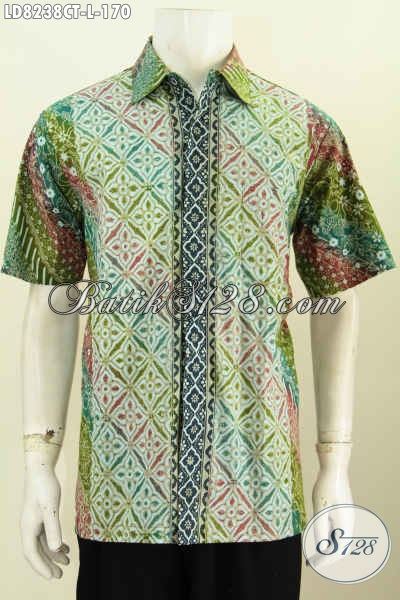 Batik Hem Untuk Kerja, Baju Batik Modern Keren Motif Kombinasi, Busana Batik Cap Tulis Solo Untuk Penampilan Lebih Berkelas [LD8238CT-L]