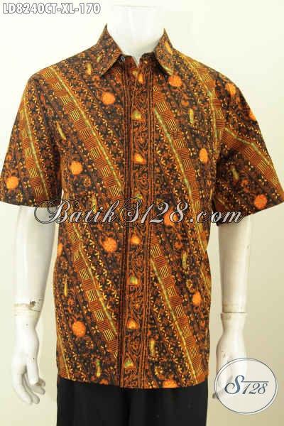Baju Hem Lengan Pendek Modis Dan Trendy Dengan Sentuhan Warna Klasik Nan elegan, Baju Batik Cao Tulis Pria Dewasa Harga 170K [LD8240CT-XL]