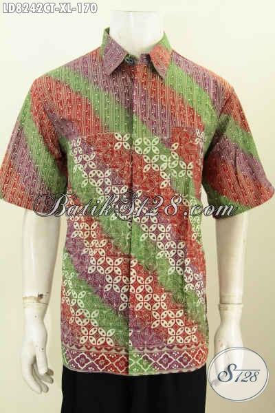 Baju Batik Keren Lengan Pendek, Hem Batik Halus Motif Mewah Bahan Adem Yang Nyaman Di Pakai Tiap Hari [LD8242CT-XL]