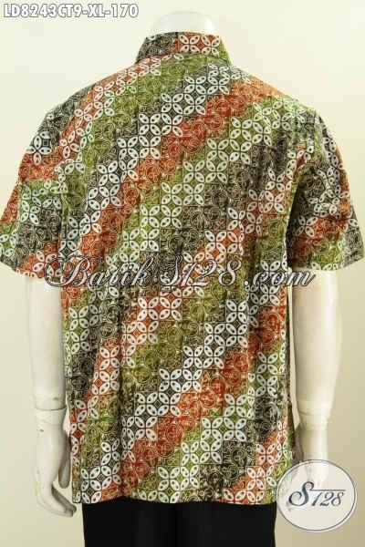 Hem Lengan Pendek Keren Motif Kombinasi, Baju Batik Terbaru Untuk Lelaki Terlihat Gagah Dan Tampan Maksimal [LD8243CT-XL]