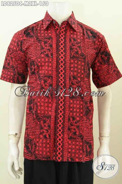 Hem Batik Monokrom Proses Cap, Pakaian Batik Pria Lengan Pendek Halus Bahan Adem Untuk Tampil Gagah [LD8250C-M , XL]