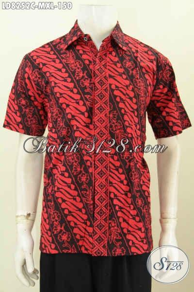 Jual Online Baju Batik Solo Monokrom, Busana Batik Masa Kini Proses Cap Model Lengan Pendek Cocok Baut Kerja Dan Hangout [LD8252C-M]