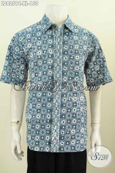 Jual Pakaian Batik Solo Halus Lengan Pendek Motif Keren Banget, Hem Batik Cap 150K Modis Untuk Kerja Dan Jalan-Jalan [LD8259C-XL]