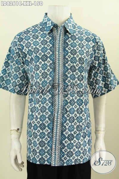Hem Batik Solo Lenga Pendek Keren Halus Ukuran Jumbo, Baju Batik Cap Untuk Lelaki Gemuk Terlihat Istimewa [LD8261C-XXL]