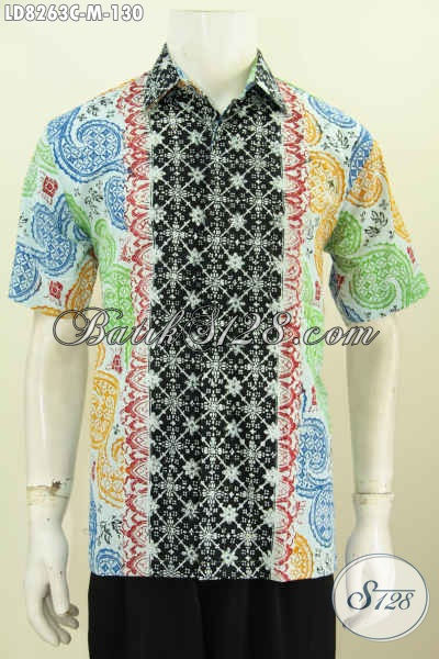 Baju Batik Modis Motif Kombinasi, Pakaian Batik Cap Buatan Solo Asli Yang Bikin Pria Terlihat Tampan Maksimal, Model Lengan Pendek [LD8263C-M]