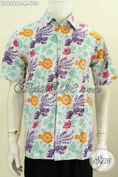 Batik Hem Gaul Dan Trendy Motif Bunga, Baju Batik Cowok Kwalitas Bagus Cocok Buat Ke Pantai, Size M