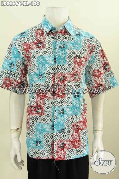 Hem Batik Lelaki Size XL, Baju Batik Modis Untuk Pria Dewasa Tampil Terlihat Muda, Berbahan Halus Motif Keren Proses Cap Harga 130 Ribu [LD8269C-XL]