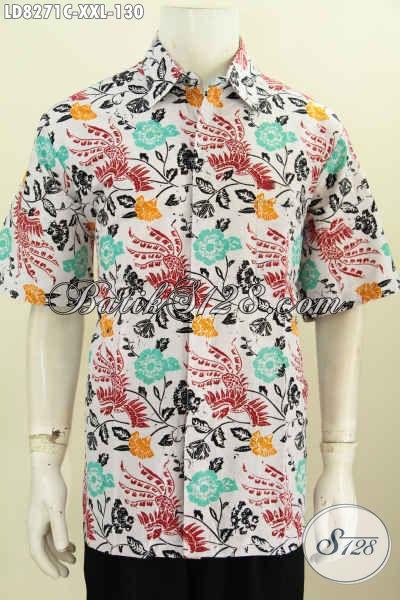 Baju Batik 3L Motif Terkini Lebih Keren Dan Gaul, Baju Batik Pria Gemuk Lengan Pendek Proses Cap Di Jual Online 130K [LD8271C-XXL]