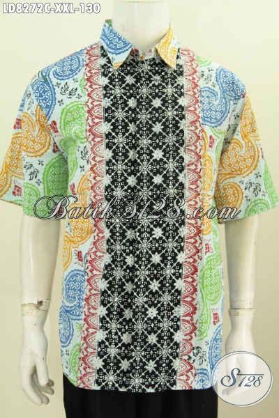 Pakaian Batik Elegan Halus Proses Cap Model Lengan Pendek, Busana Batik Solo Kwalitas Istimewa Untuk Penampilan Makin Tampan Dan Kece [LD8272C-XXL]