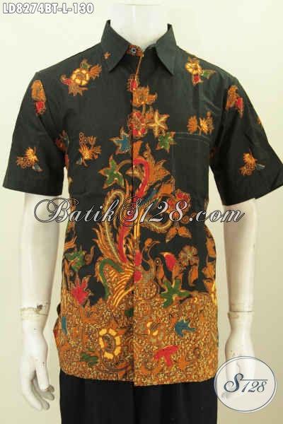 Baju Batik Lengan Pendek Elegan Motif Mewah Bahan Halus Hanua 130K Proses Kombinasi Tulis, Cocok Untuk Kerja Dan Kondangan [LD8274BT-L]